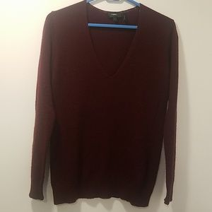 Burgandy Theory V Neck Cashmere Sweater